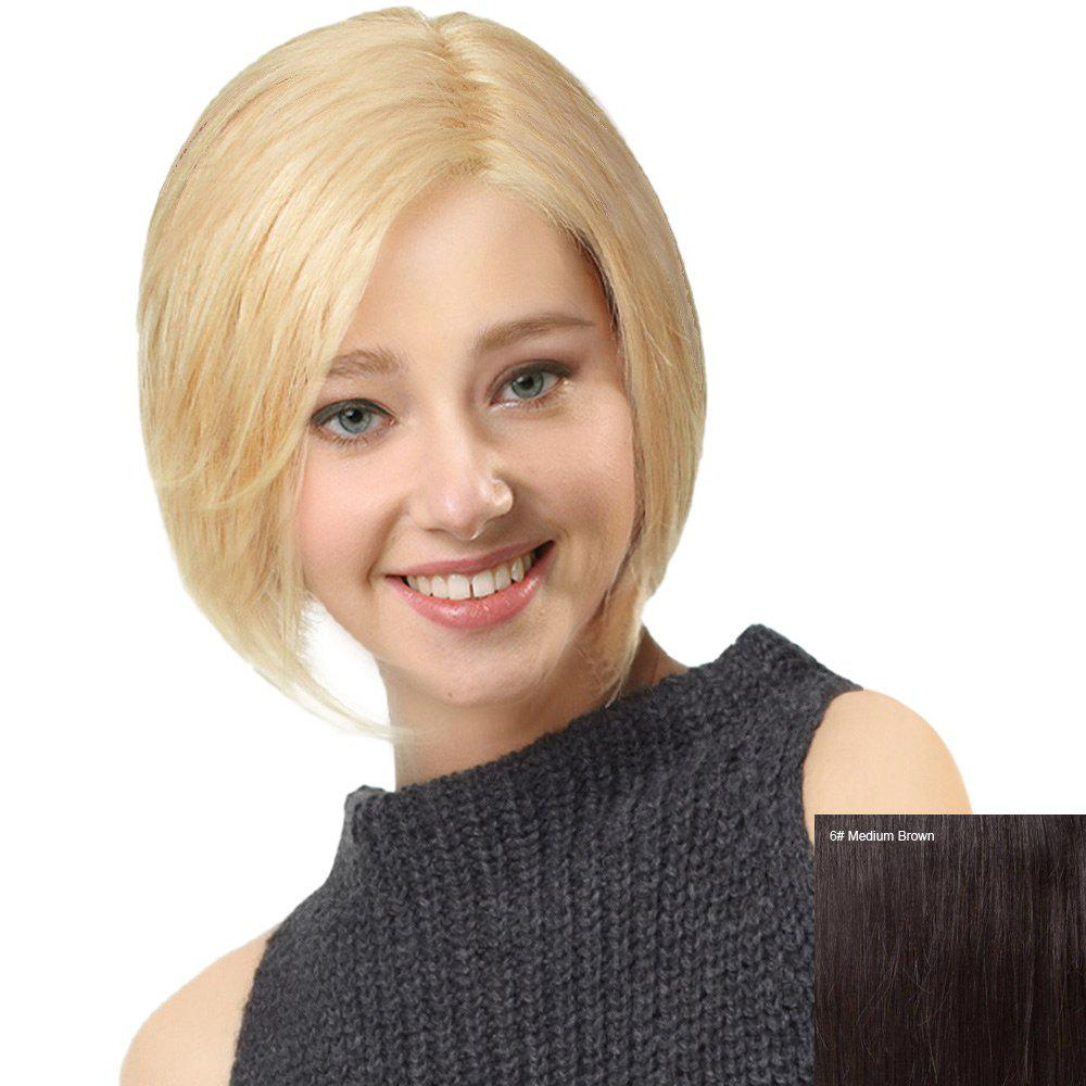 Side Riding Straight Bob cheveux humains perruque avant en dentelle - Brown Moyen