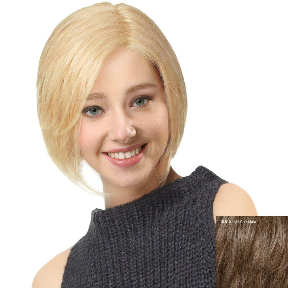 Side Parting Straight Short Bob Human Hair Lace Front Wig - LIGHT CHOCOLATE