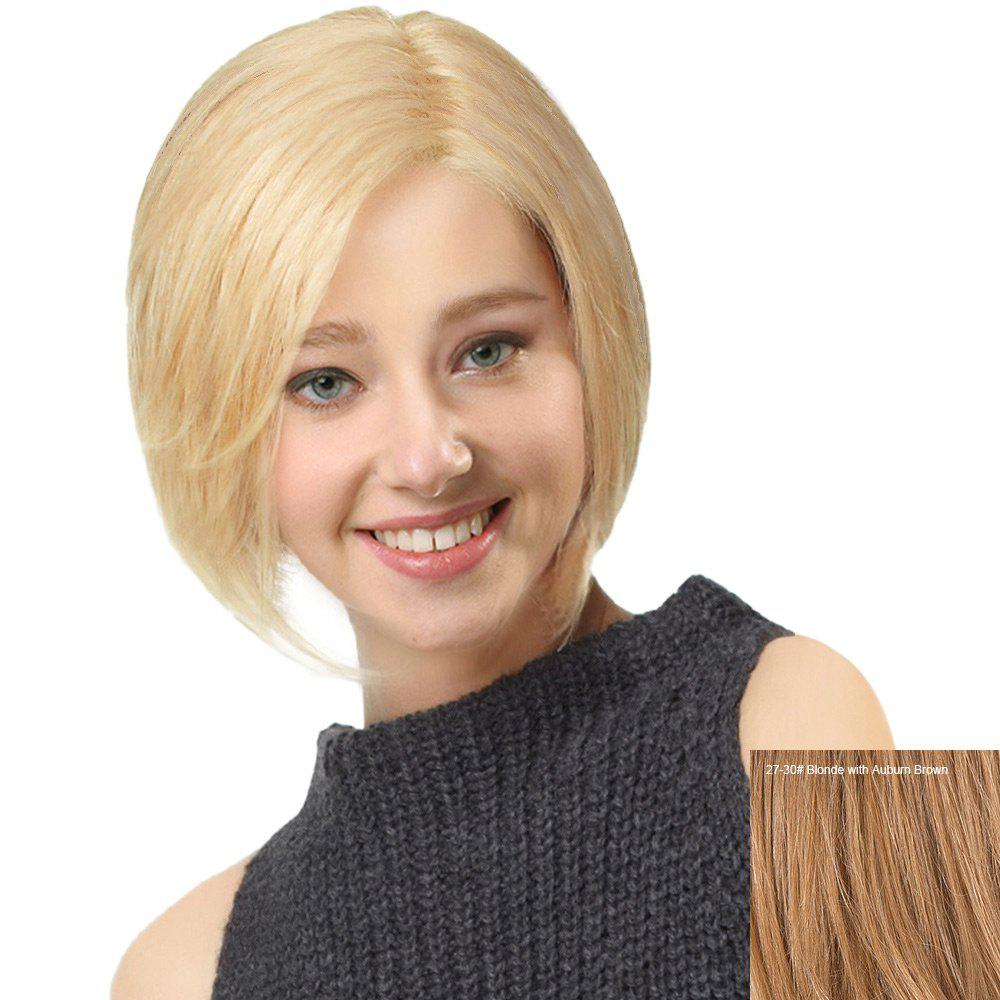 Side Parting Straight Short Bob Human Hair Lace Front Wig - BLONDE/AUBURN BROWN