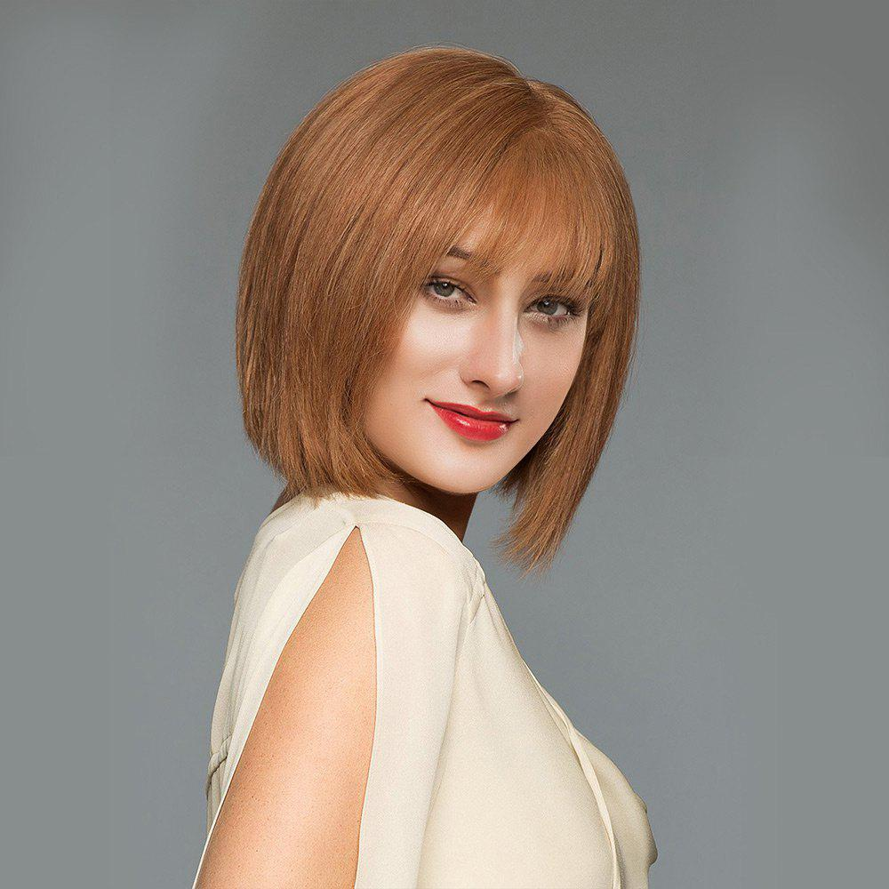 See-through Fringe Straight Short Blunt Bob Human Hair Wig - AUBURN BROWN