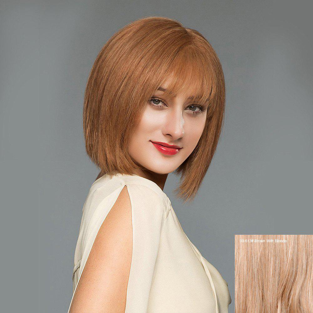 See-through Fringe Straight Short Blunt Bob Human Hair Wig - BROWN/BLONDE