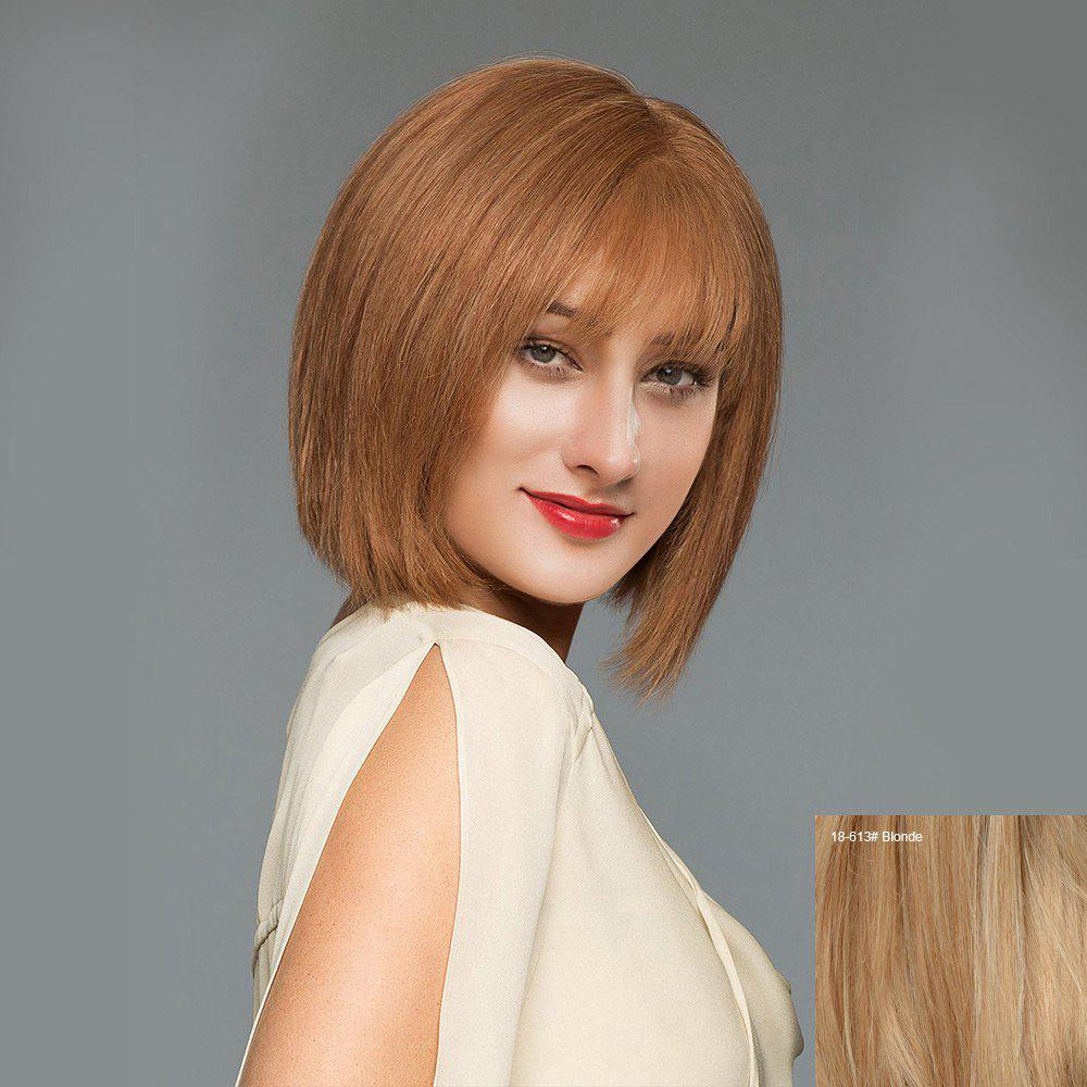 See-through Fringe Straight Short Blunt Bob Perruque de cheveux humains - / Blonde