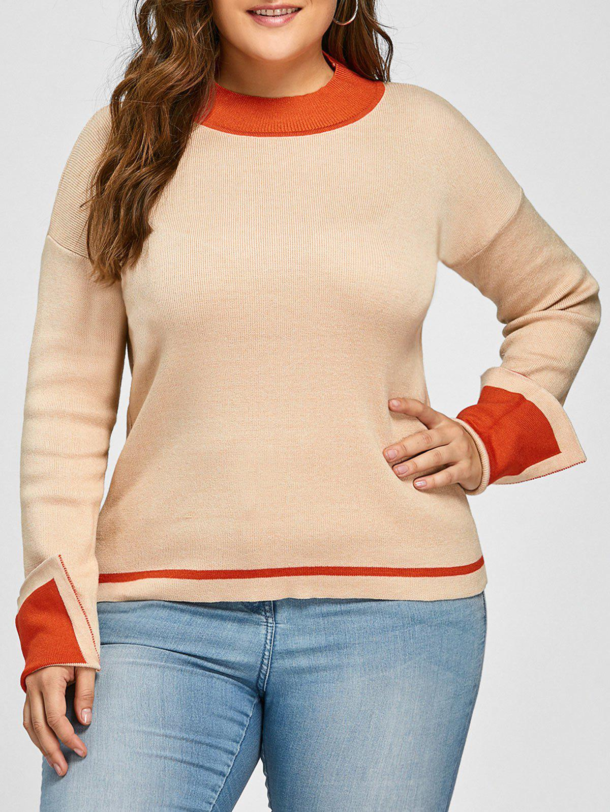 Plus Size Drop Shoulder Striped Jumper Sweater bowknot embellished plus size drop shoulder sweater