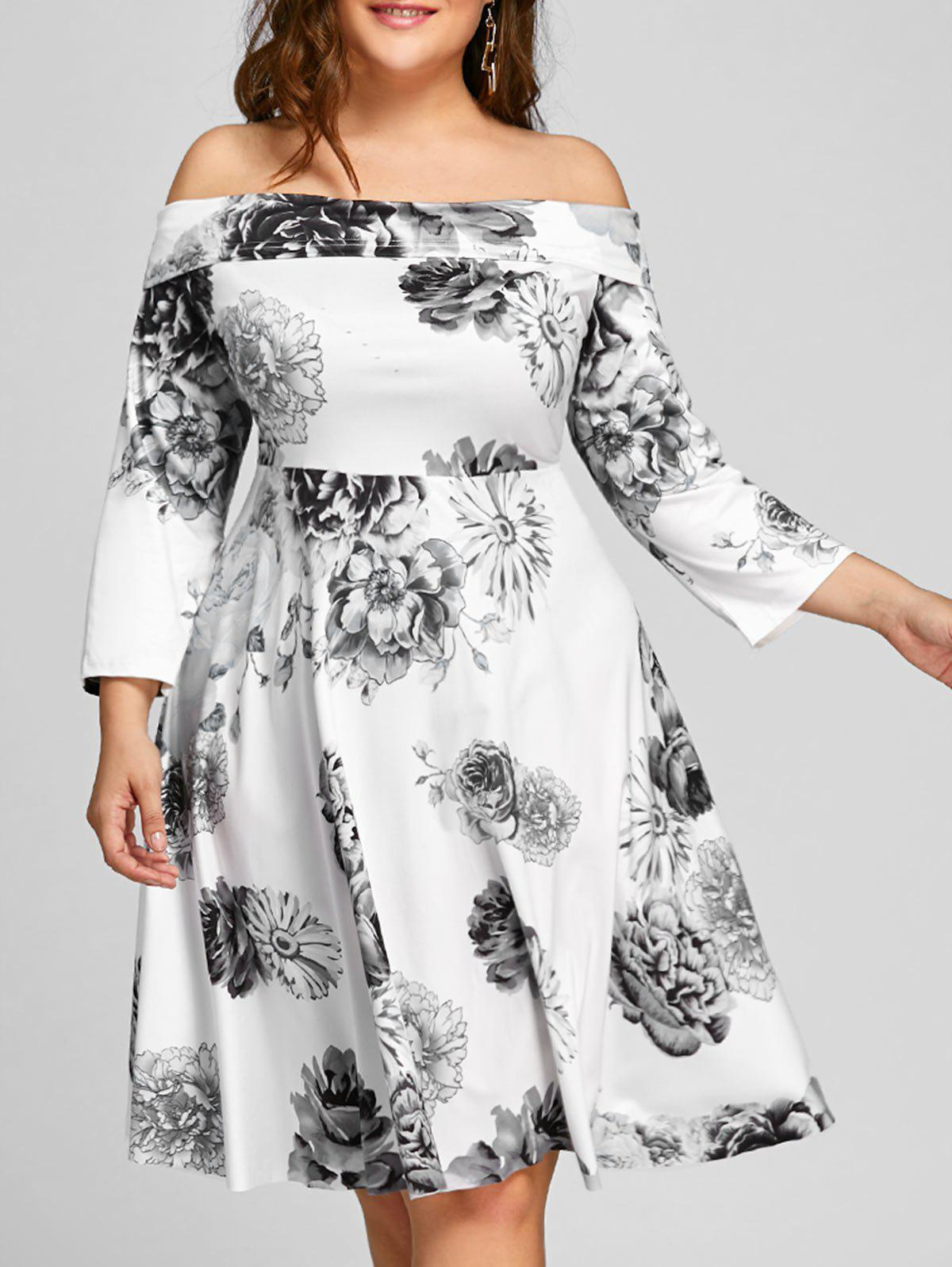 Plus Size Off The Shoulder Floral Print Dress - WHITE XL