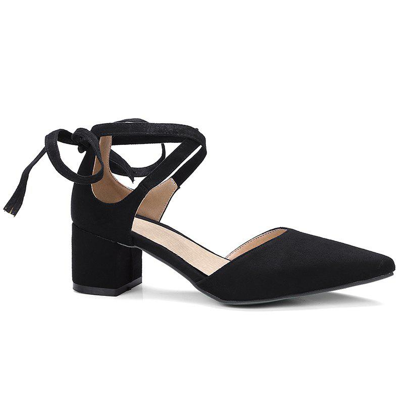 Pointed Toe Ankle Strap Two Pieces Pumps - BLACK 38