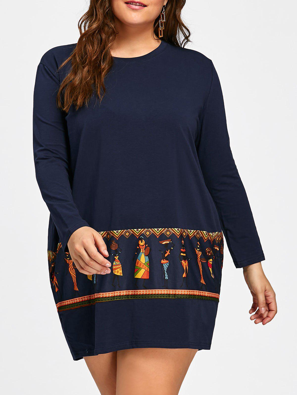 Plus Size Tribal Print Long Sleeve Baggy Dress - ROYAL ONE SIZE