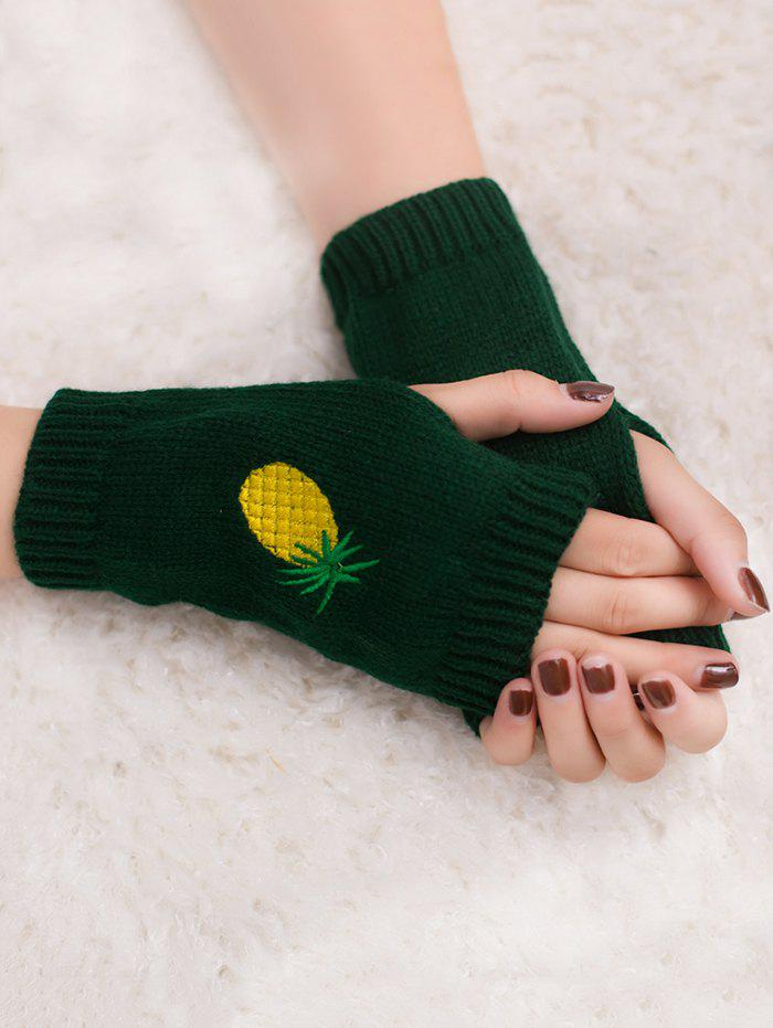Halloween Funny Pineapple Embroidery Fingerless Knitted Gloves - BLACKISH GREEN