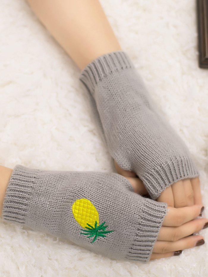 Halloween Funny Pineapple Embroidery Fingerless Knitted Gloves - LIGHT GRAY