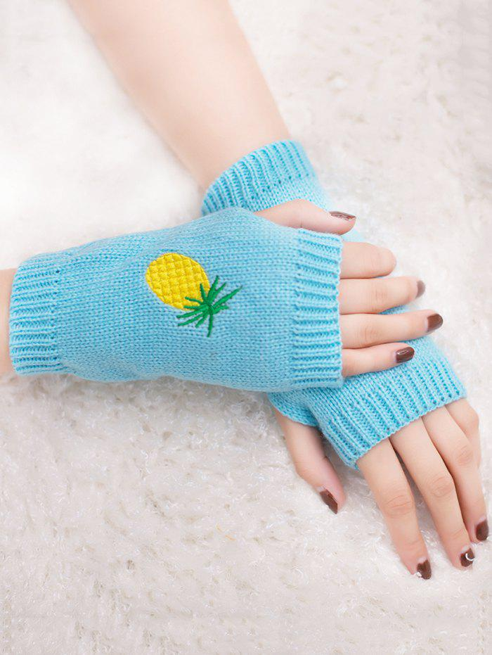 Halloween Funny Pineapple Embroidery Fingerless Knitted Gloves - LIGHT BLUE
