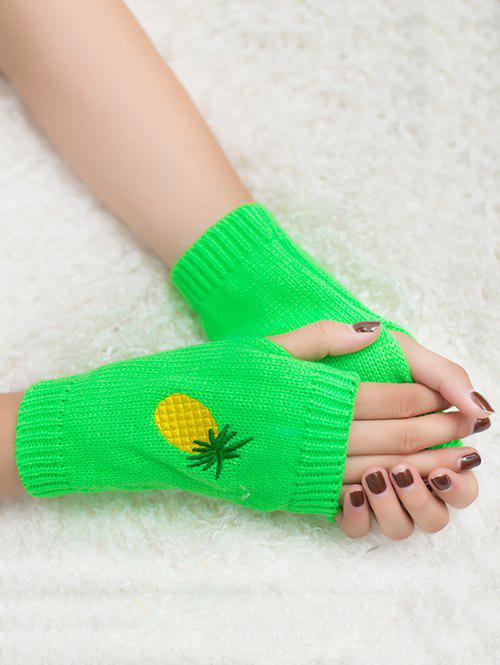 Halloween Funny Pineapple Embroidery Fingerless Knitted Gloves - NEON GREEN