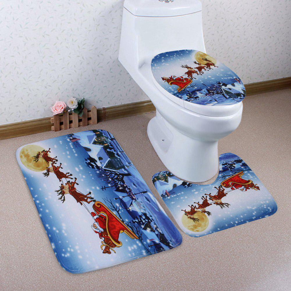 3Pcs Moon Christmas Sled Toilet Bath Rugs Set moon flac jeans