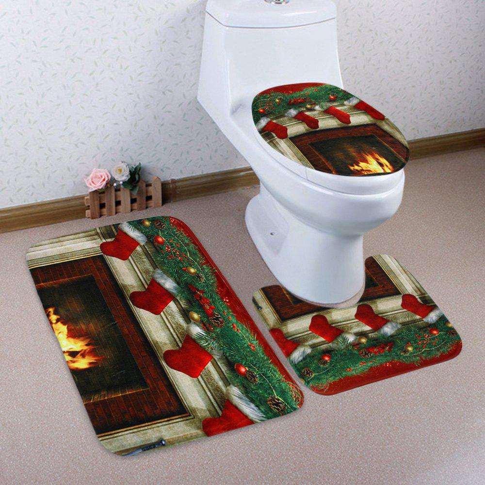 ... 3Pcs Christmas Fireplace Socks Toilet Bath Rugs Set   COLORMIX ...