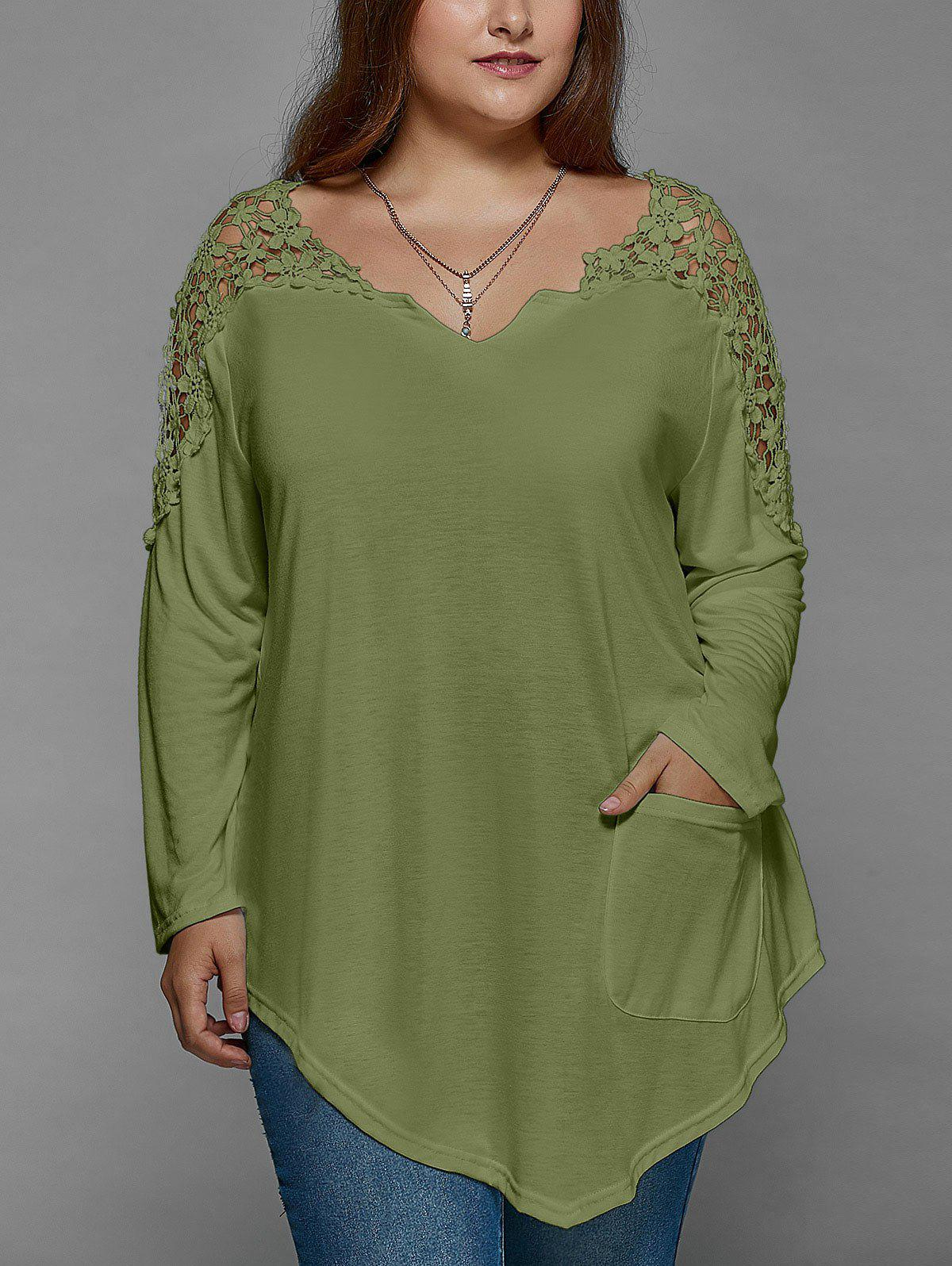 Plus Size Lace Insert Long Sleeve Tunic T-Shirt lace sleeve plus size tunic irregular t shirt