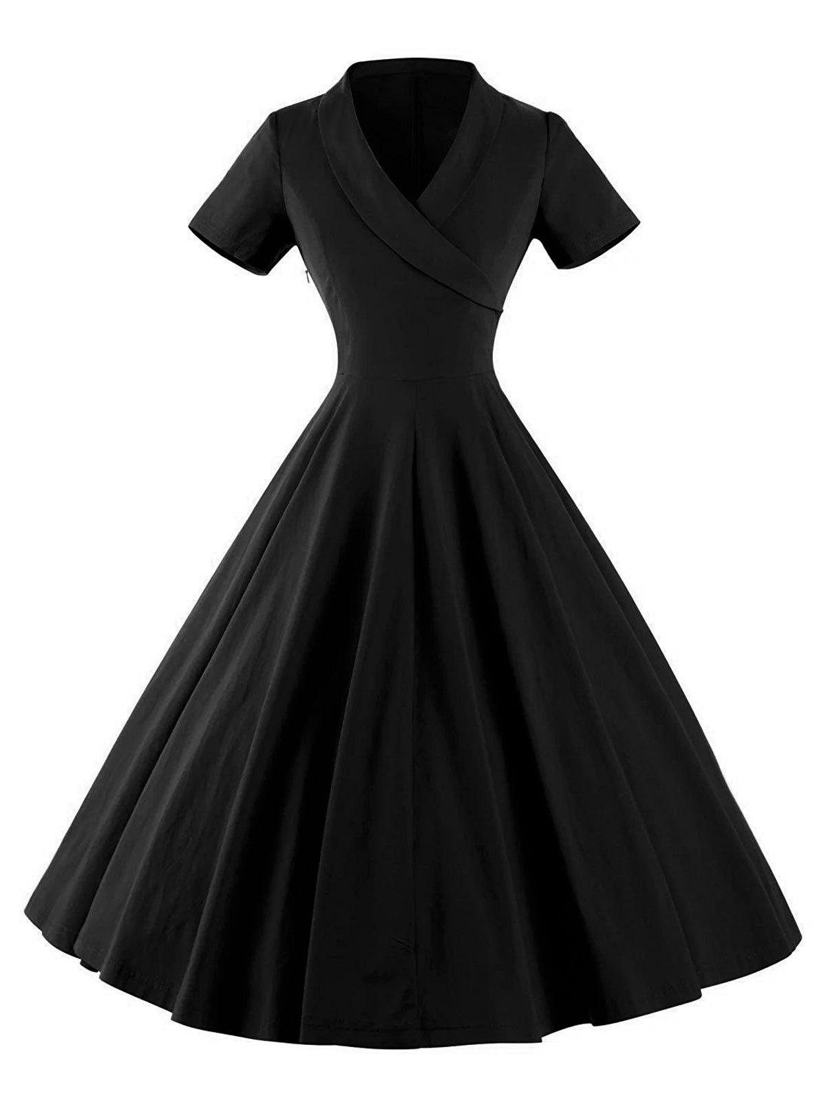 Vintage V Neck Pinup Swing Dress, Black