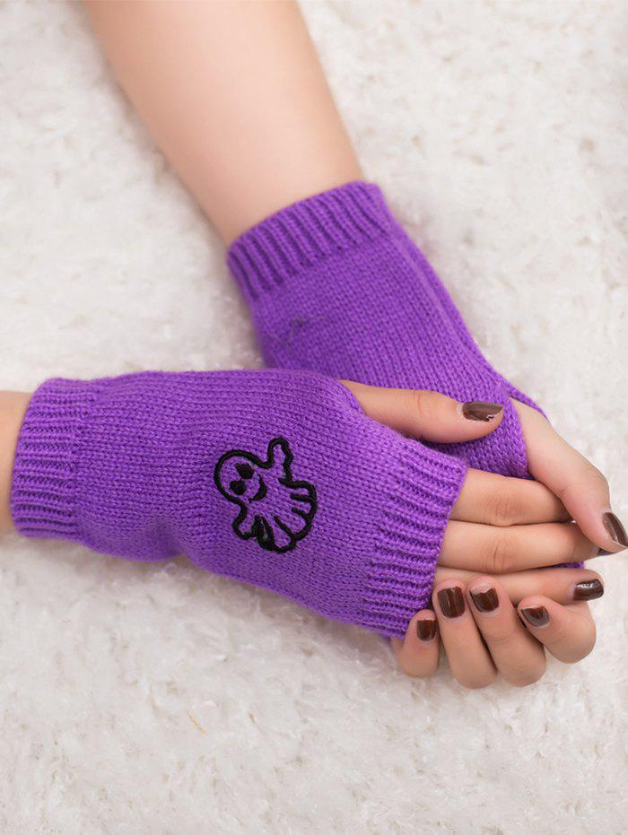 Halloween Cartoon Ghost Pattern Exposed Fingerless Gloves - PURPLE