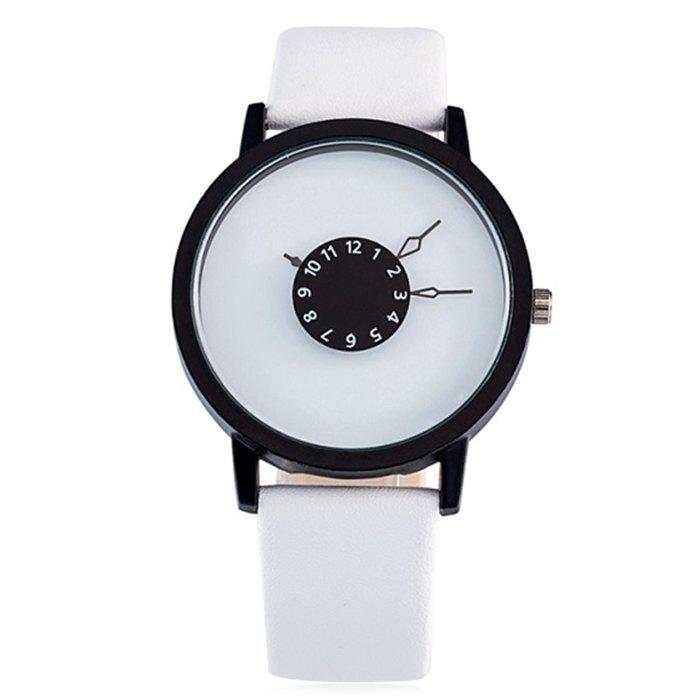 Number Round Faux Leather Strap Watch - WHITE