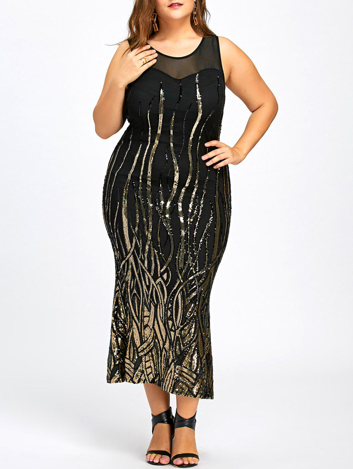 Sequin Plus Size Mesh Panel Party Dress - BLACK XL