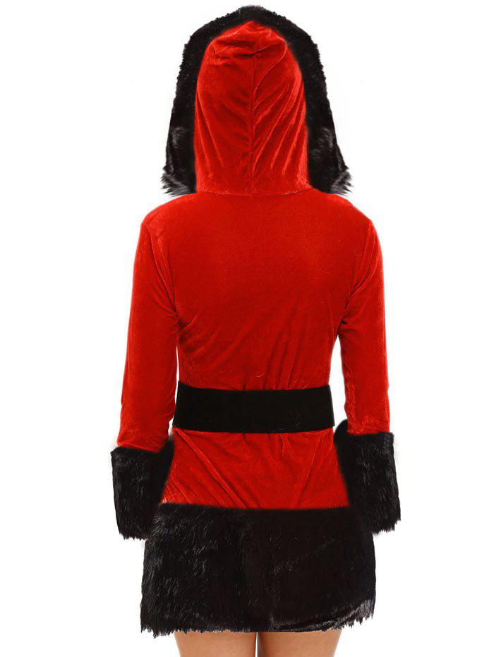 Faux Fur Trim Hooded Christmas Costume - Rouge ONE SIZE