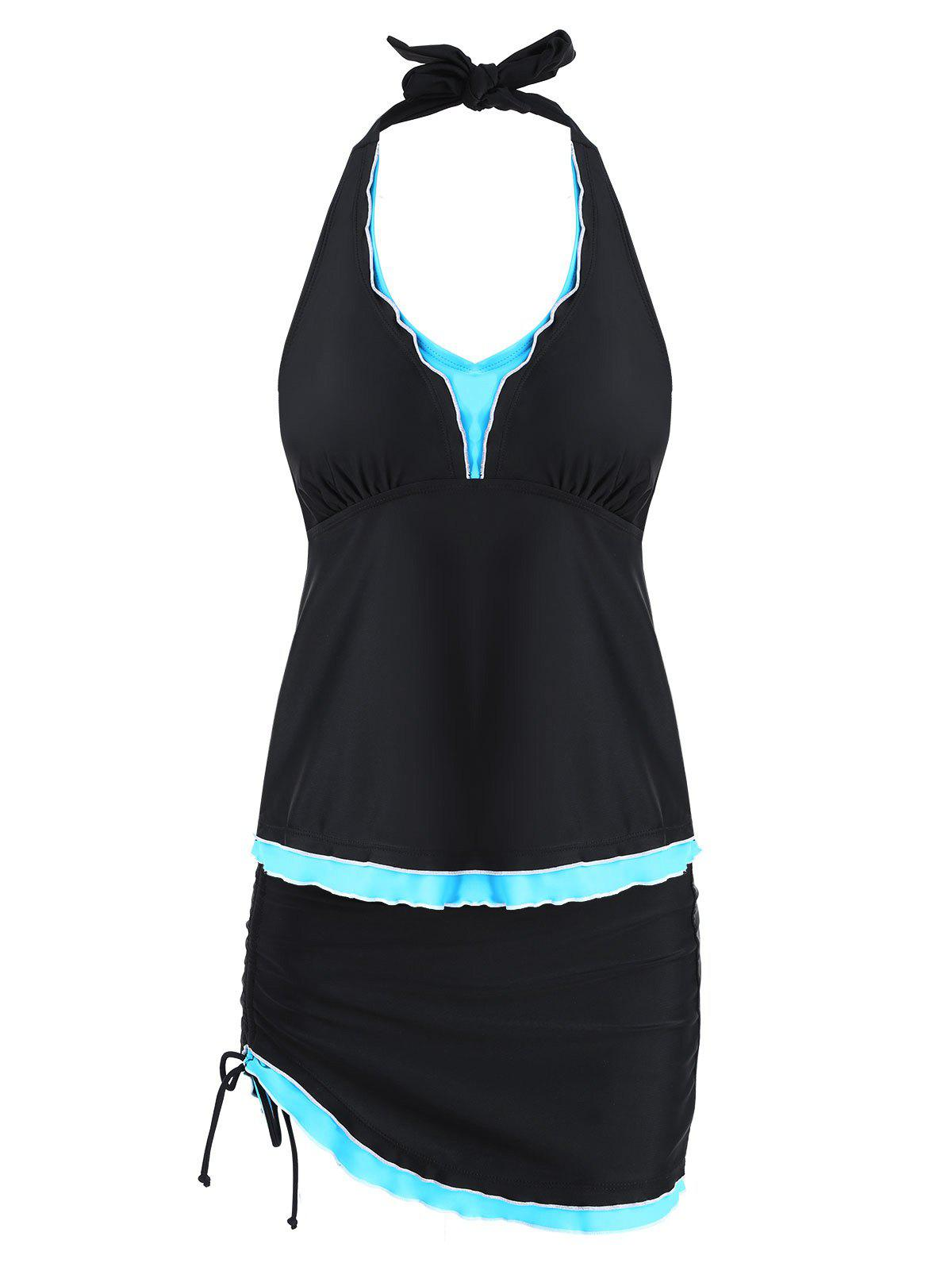 Plus Size Halter Frill Trim Tankini Set - BLACK XL