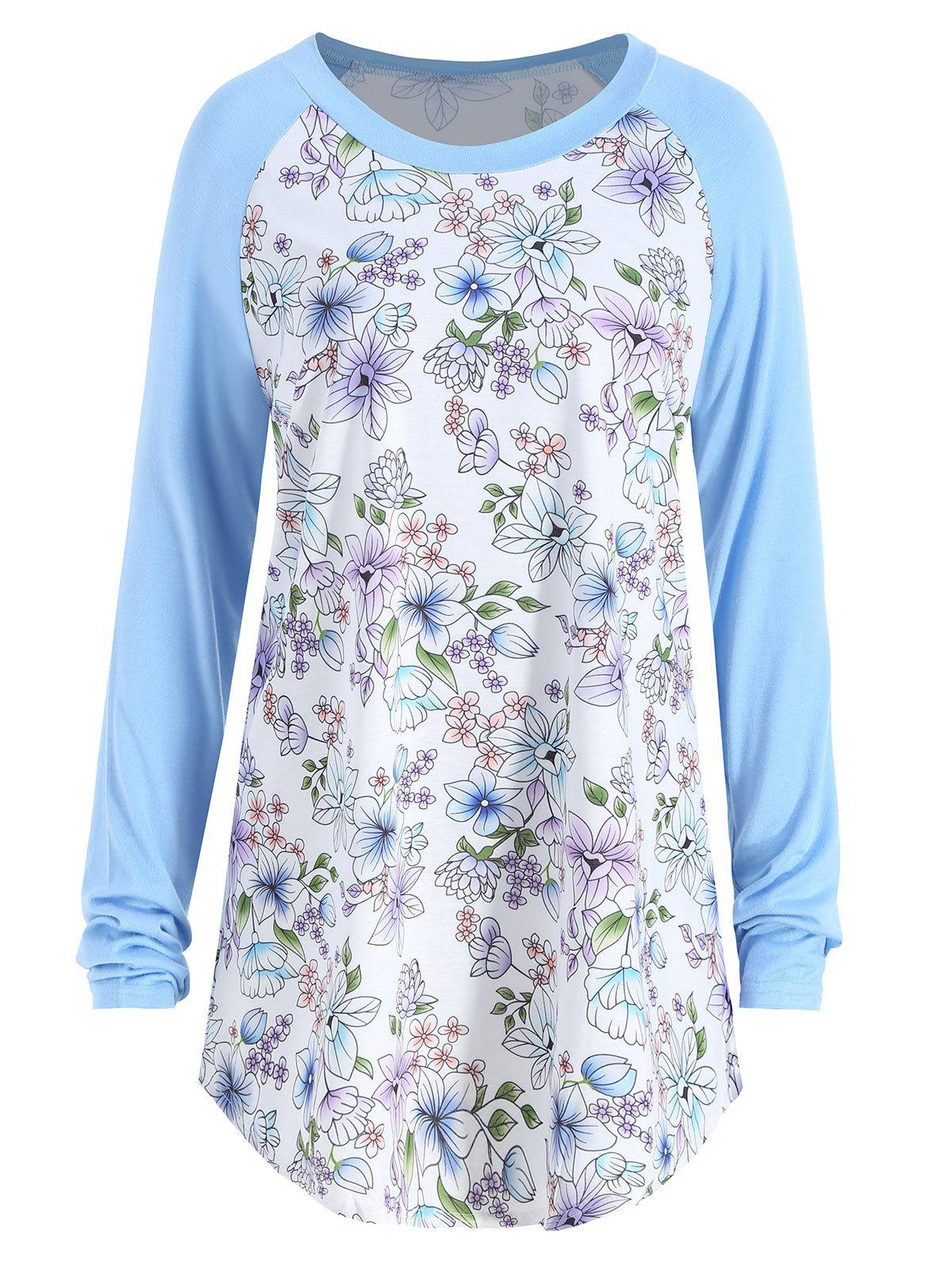 Floral Print Raglan Sleeve Plus Size Tee - LIGHT BLUE 2XL