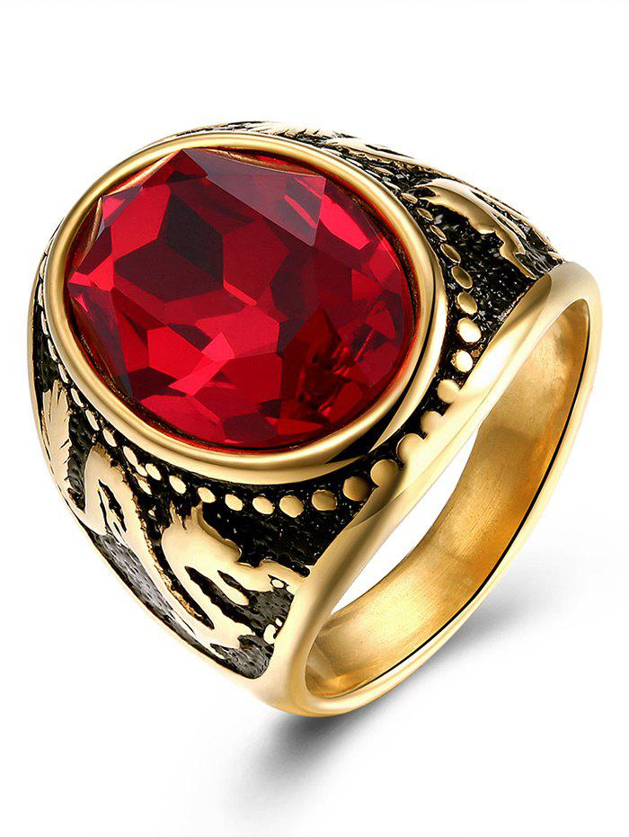 Vintage Faux Ruby Engraved Dragon Oval Ring - GOLDEN 9