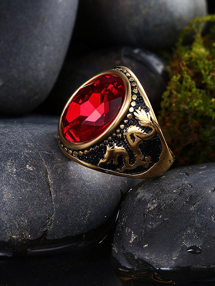 Vintage Faux Ruby Engraved Dragon Oval Ring - GOLDEN 7