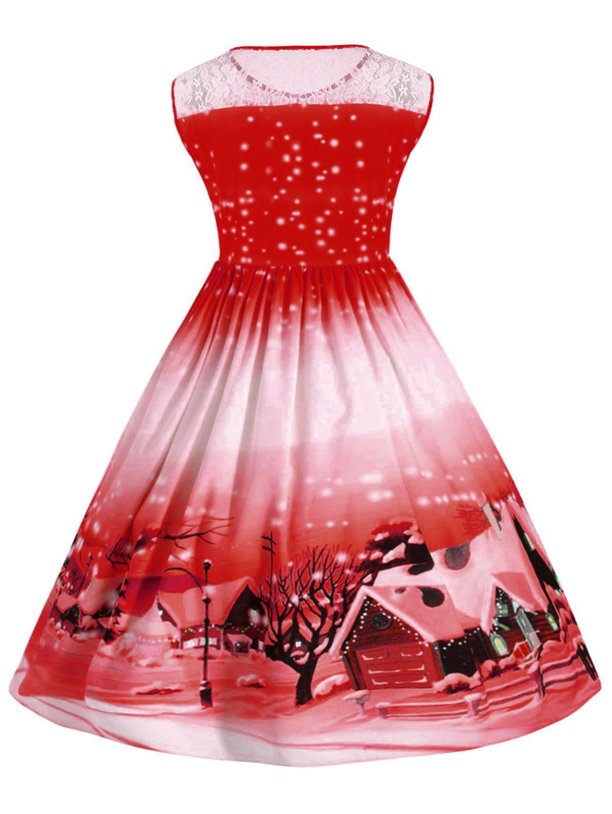 Plus Size Lace Panel Christmas Snow Vintage Ball Dress - RED 4XL