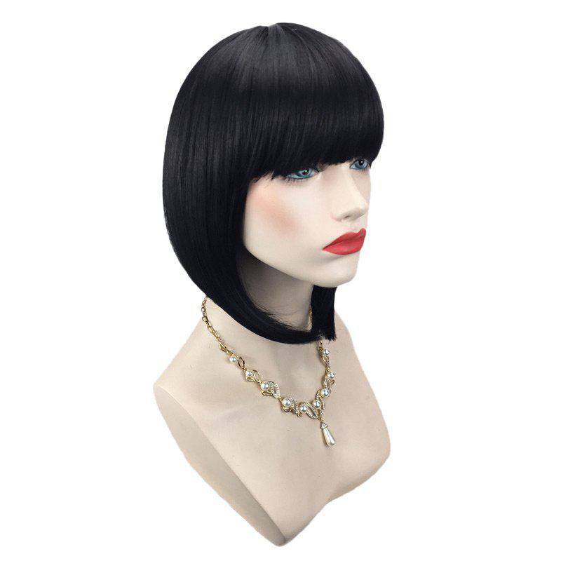Short Neat Bang Straight Inverted Bob Synthetic Wig - BLACK