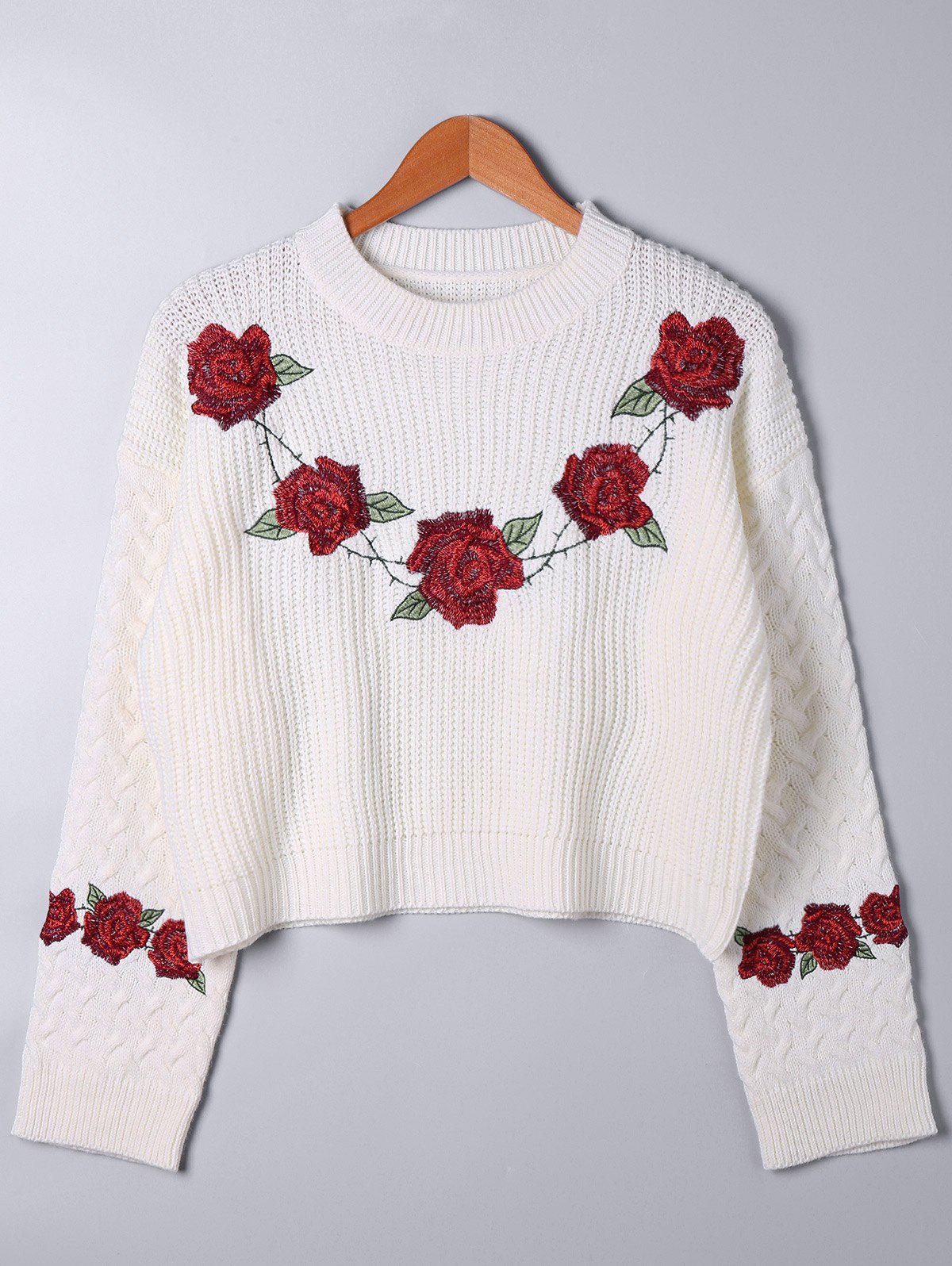 Embroidery Cable Knit Sweater - WHITE ONE SIZE