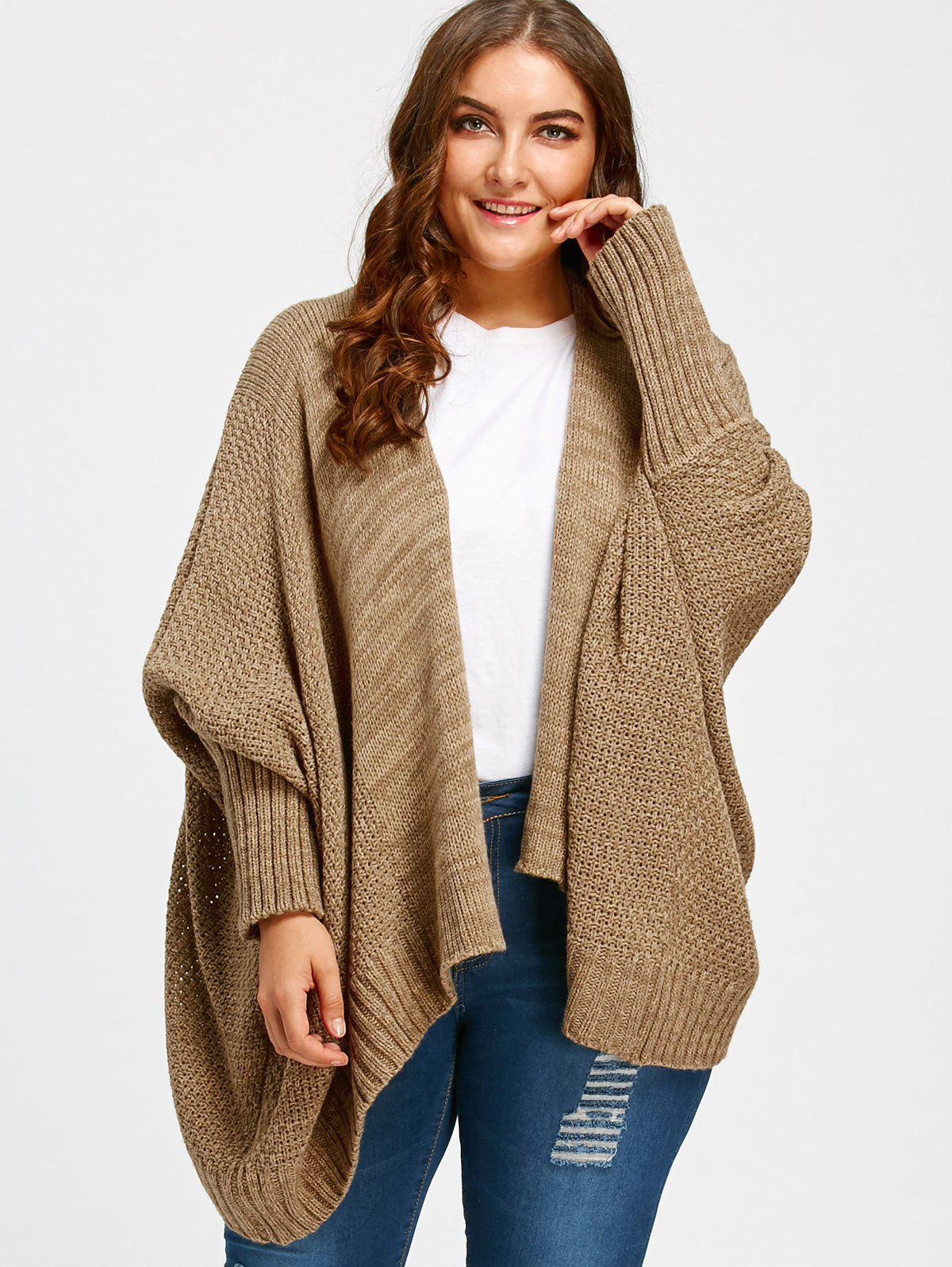 Plus Size Batwing Sleeve Knit Cardigan inc international concepts plus size bootcut pull on ponte knit pants