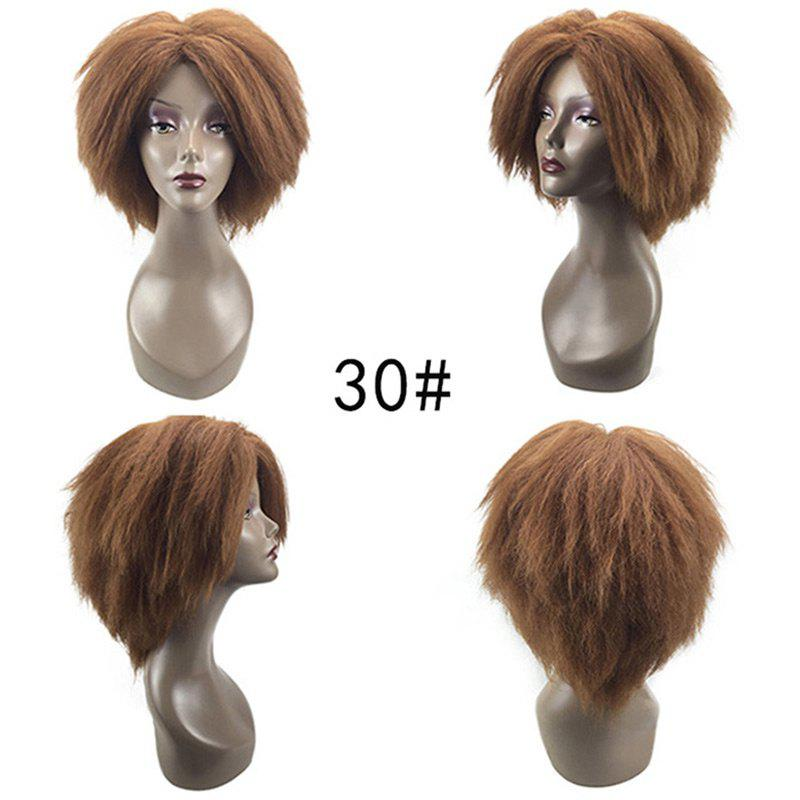 Medium Center Parting Bouffant Kinky Straight Synthetic Wig - Brun Doré