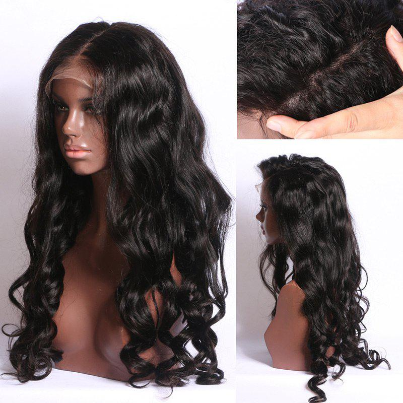 Long Free Part Bouffant Body Wave Synthetic Lace Front Wig - BLACK