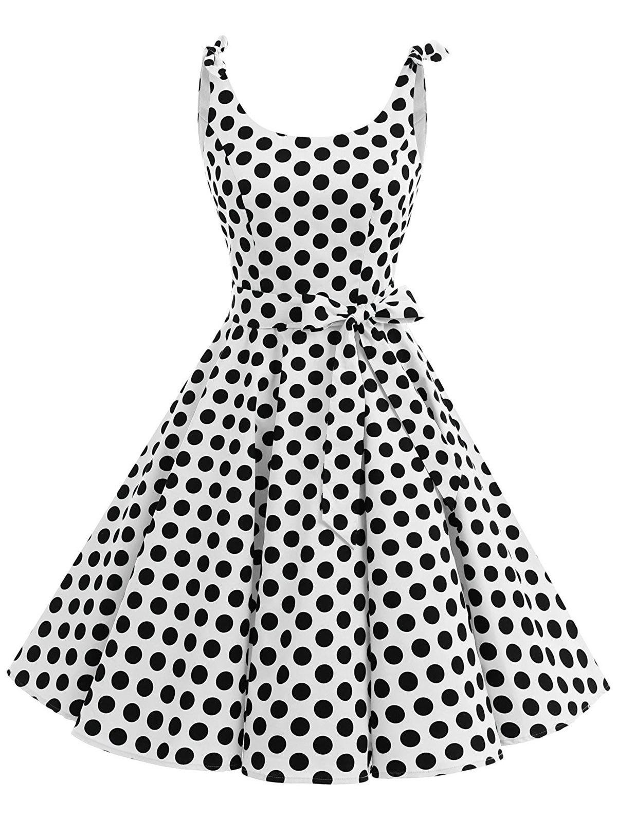 Polka Dot Bowknot Belted Vintage Dress - WHITE S