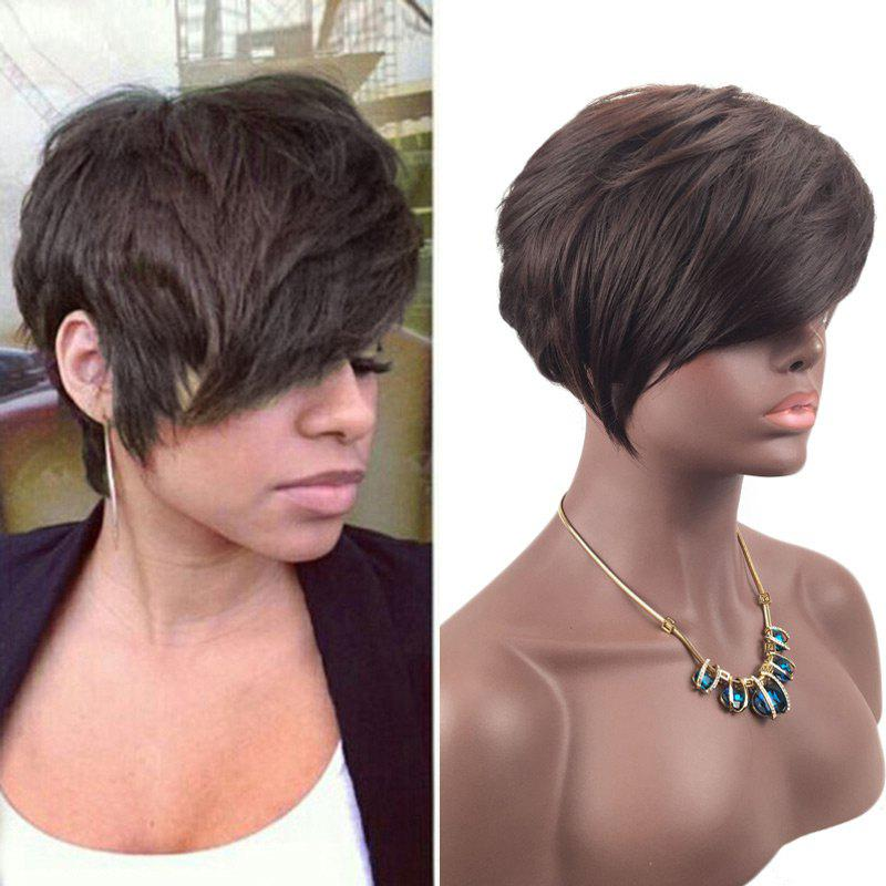 Short Oblique Fringe Layered Straight Synthetic Wig - BROWN