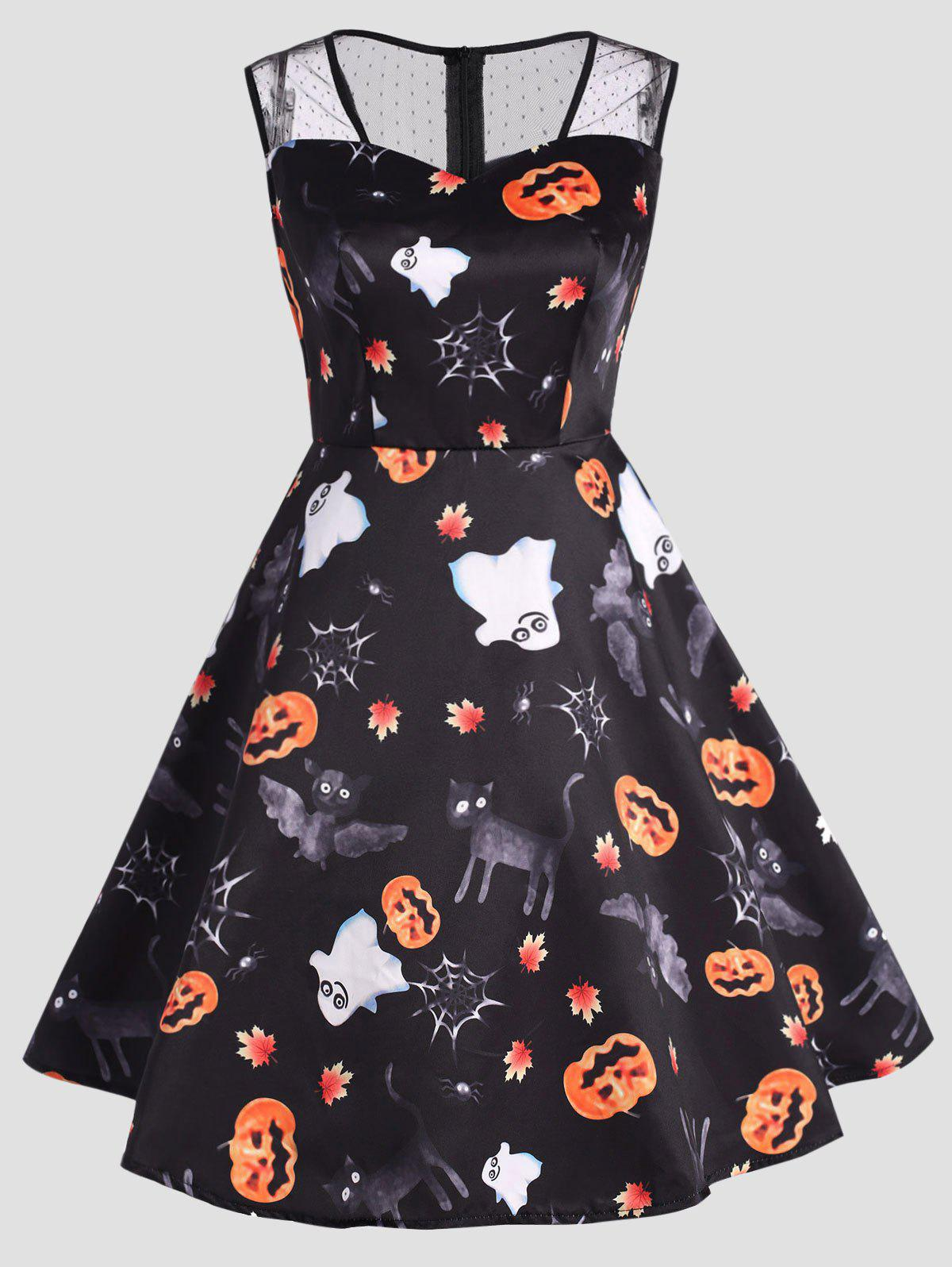 Plus Size Halloween Ghost Pumpkin Print Dress - BLACK 2XL
