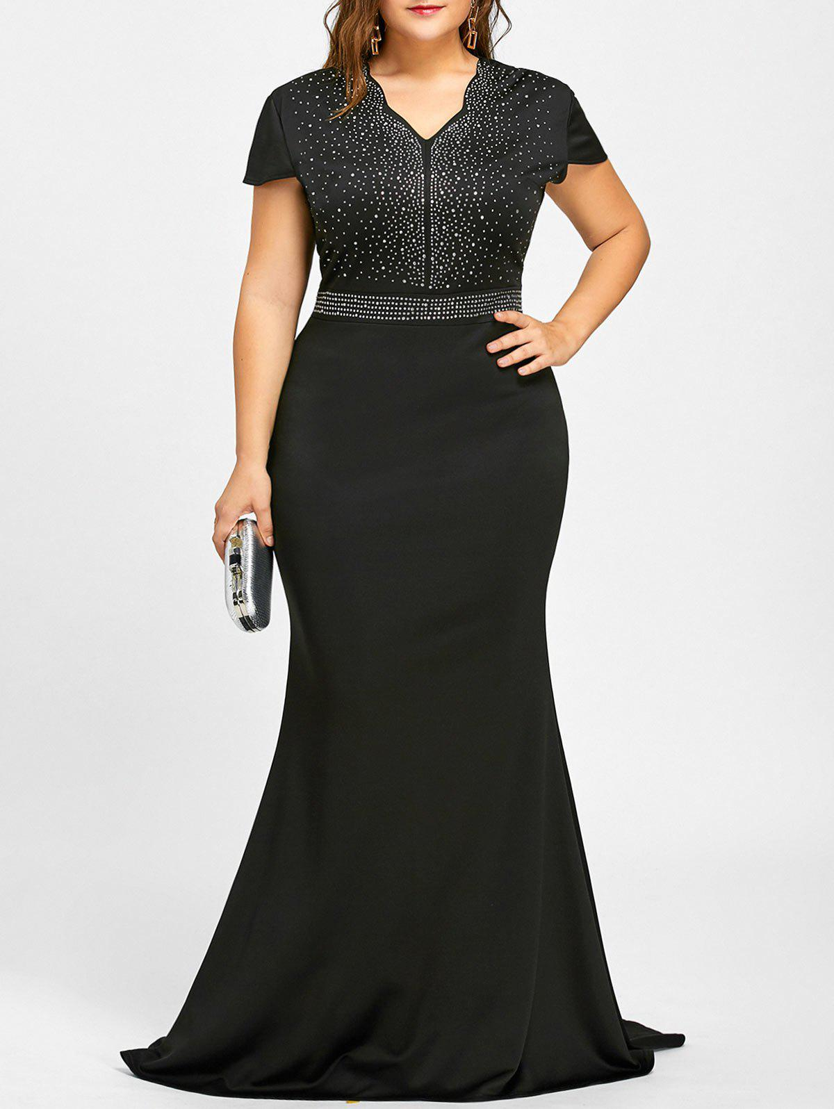 Rhinestone Embellished Plus Size Maxi Dress - BLACK 2XL