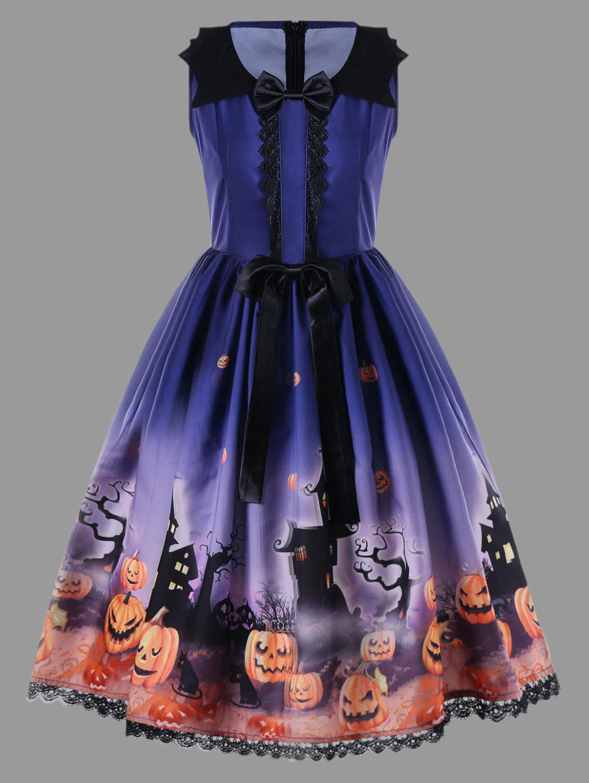 Halloween Plus Size Bowknot Embellished Vintage Dress - BLUE 3XL