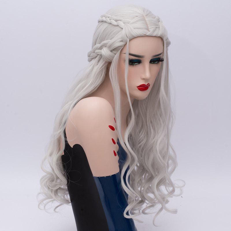 Long Braids Wavy Synthetic Game of Thrones Daenerys Targaryen Cosplay Wig - SILVER
