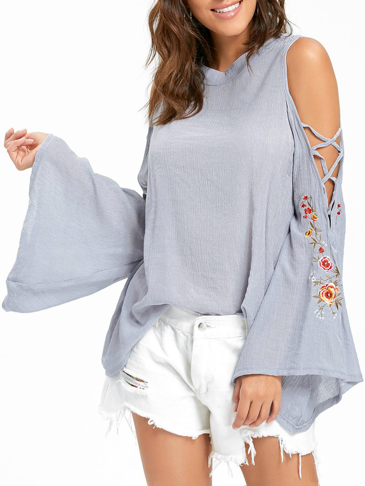 Embroidered Cold Shoulder Bell Sleeve Blouse - GRAY S
