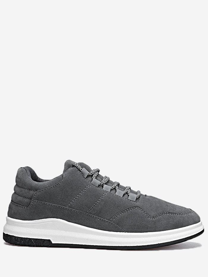 Stitching Lace Up Sneakers - GRAY 44