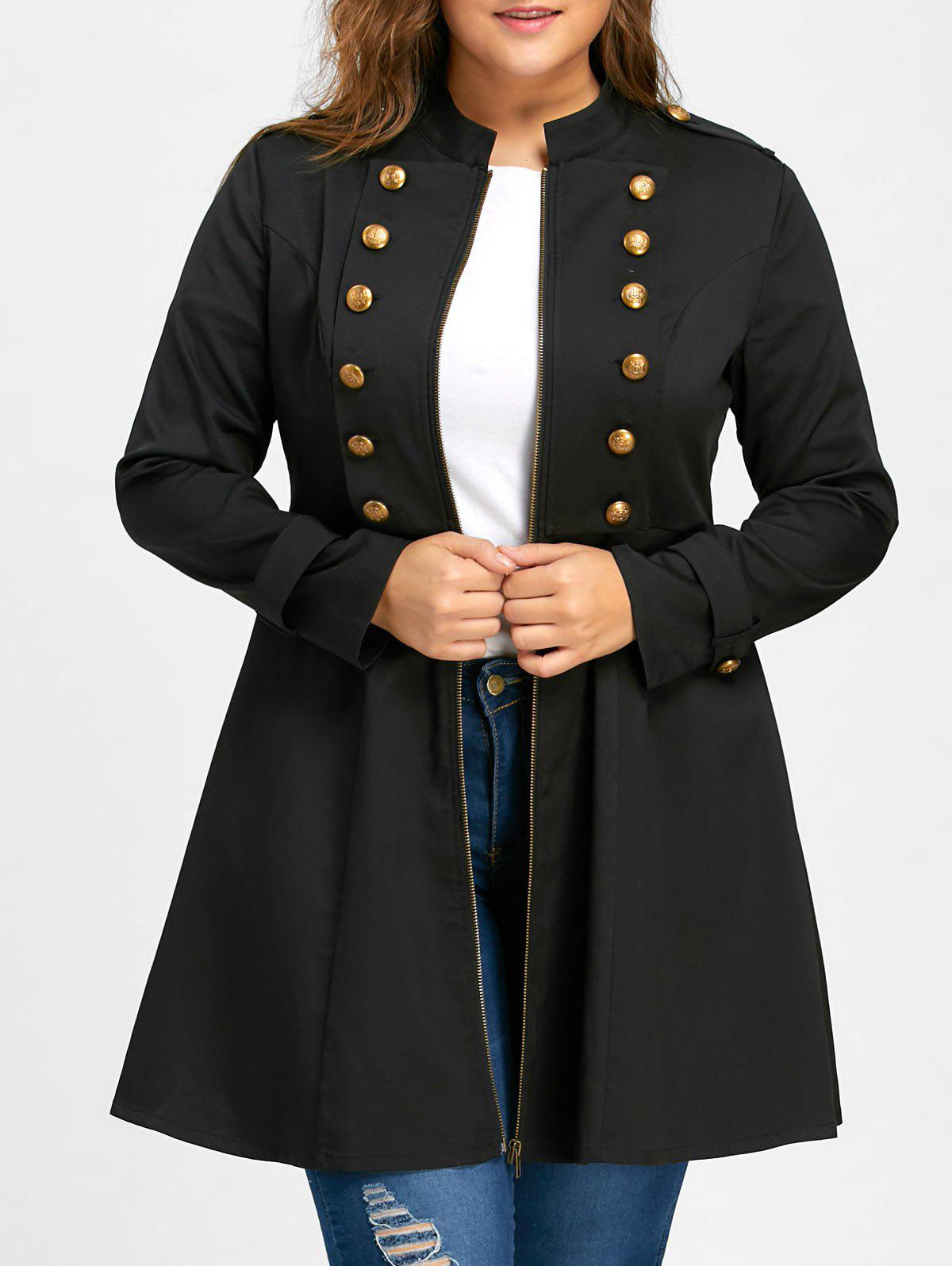 Plus Size Double Breasted Flare Coat - BLACK 3XL