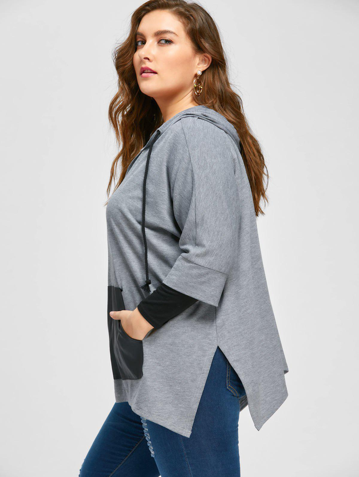 Plus Size Kangaroo Pocket Side Slit Hoodie - GRAY 4XL