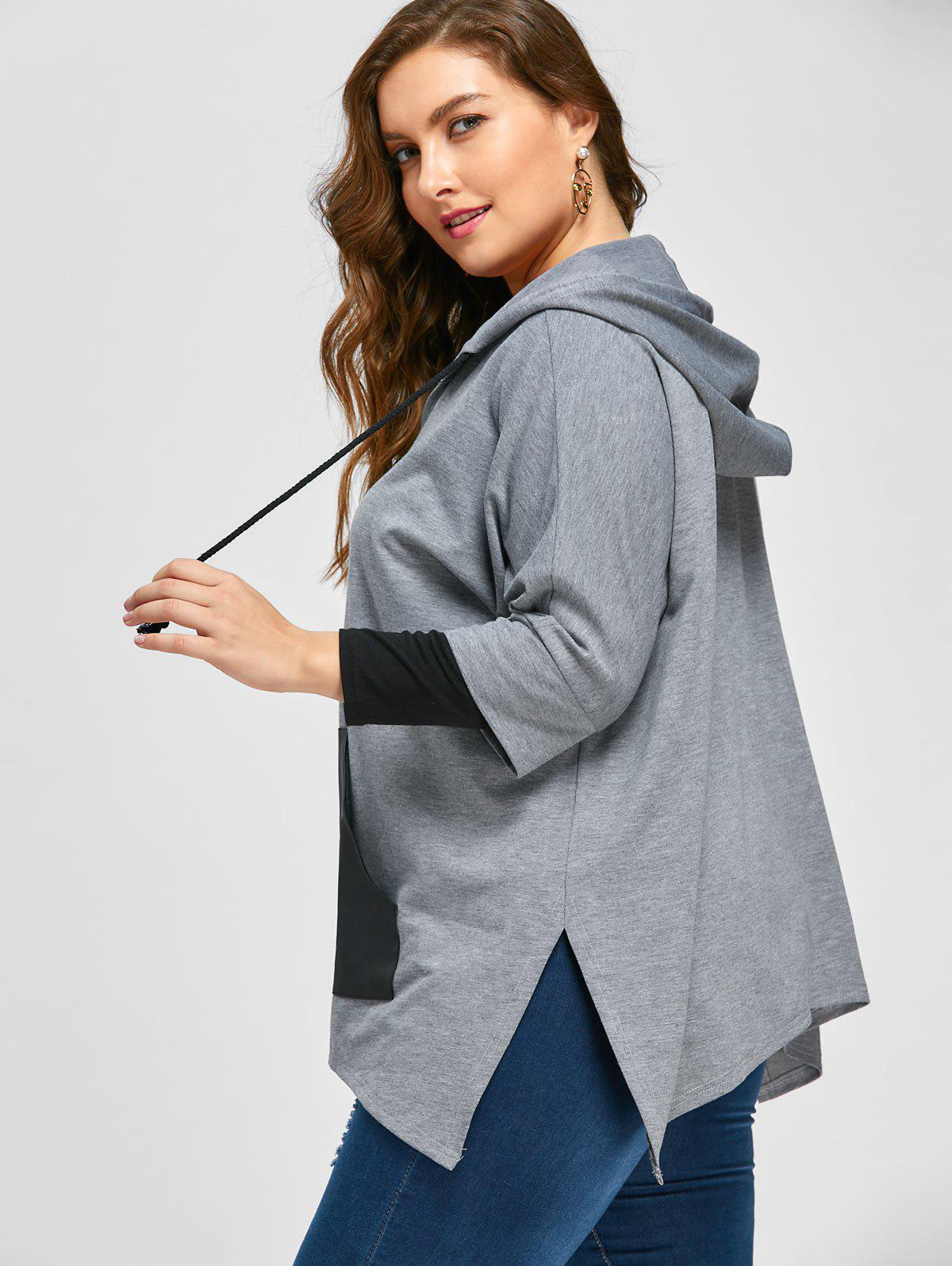Plus Size Kangaroo Pocket Side Slit Hoodie - GRAY 3XL