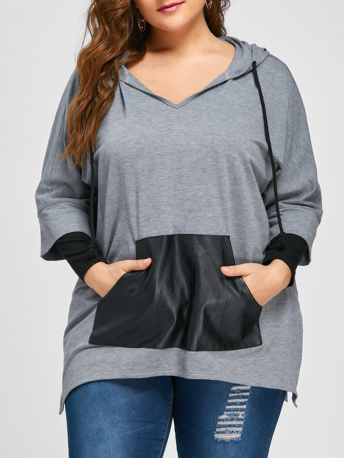 Plus Size Kangaroo Pocket Side Slit Hoodie - Gris XL