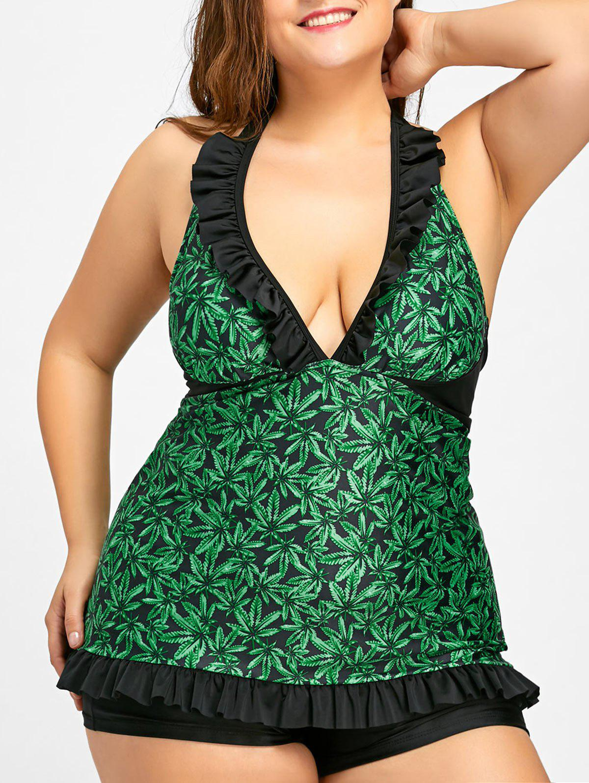 Plus Size Frill Skirted Tankini Set - GREEN 2XL