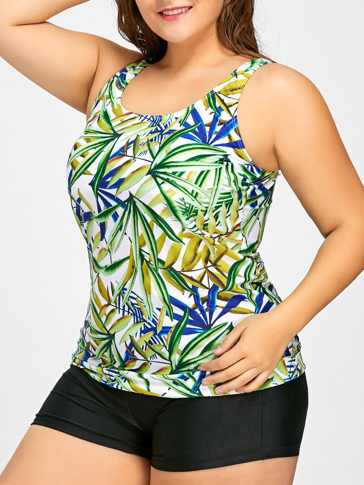Plus Size Leaf Print Tankini Set - COLORMIX XL