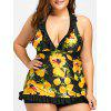 Plus Size Skirted Ruffled Tankini Set - YELLOW/BLACK 2XL
