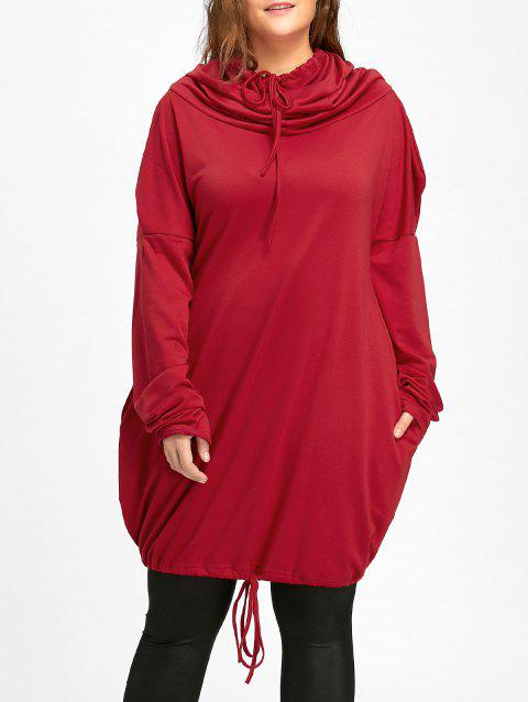 3422465d0 LIMITED OFFER  2019 Plus Size Drawstring Funnel Neck Hoodie In RED ...