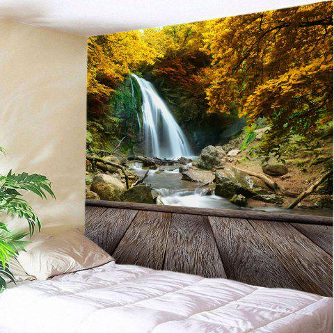 Maple Forest Waterfall Print Tapestry Wall Hanging Art - YELLOW W91 INCH * L71 INCH