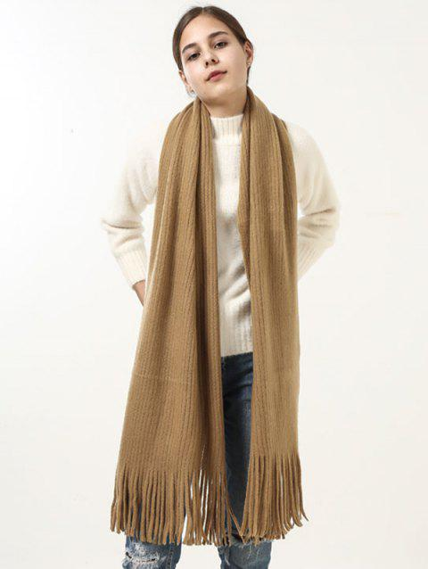 Outdoor Fringed Knit Long Shawl Scarf - GINGER